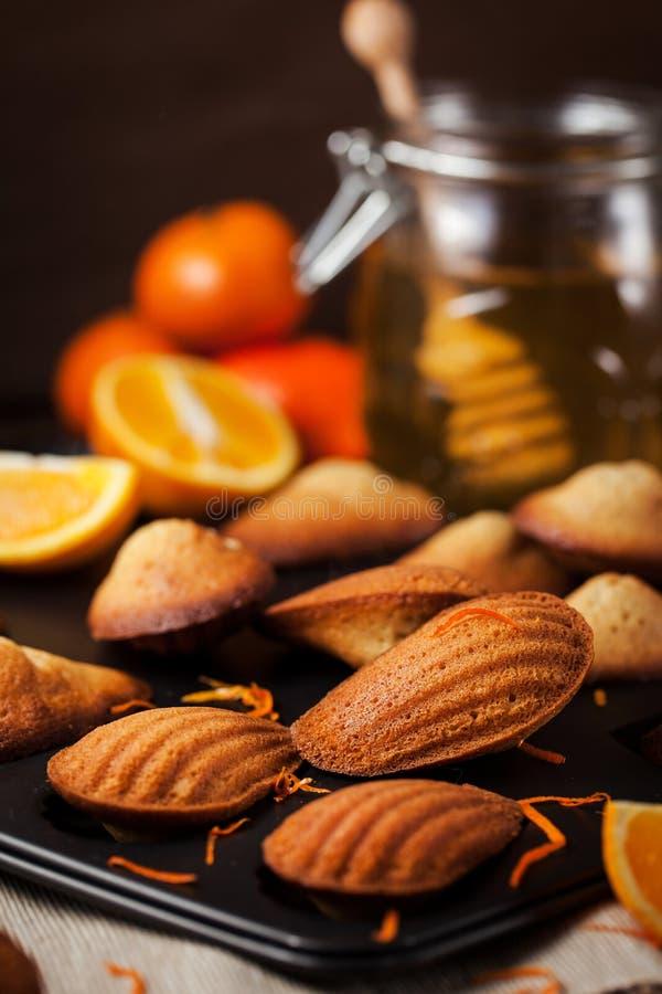 Biscuits de madeleines d'orange et de miel photos stock