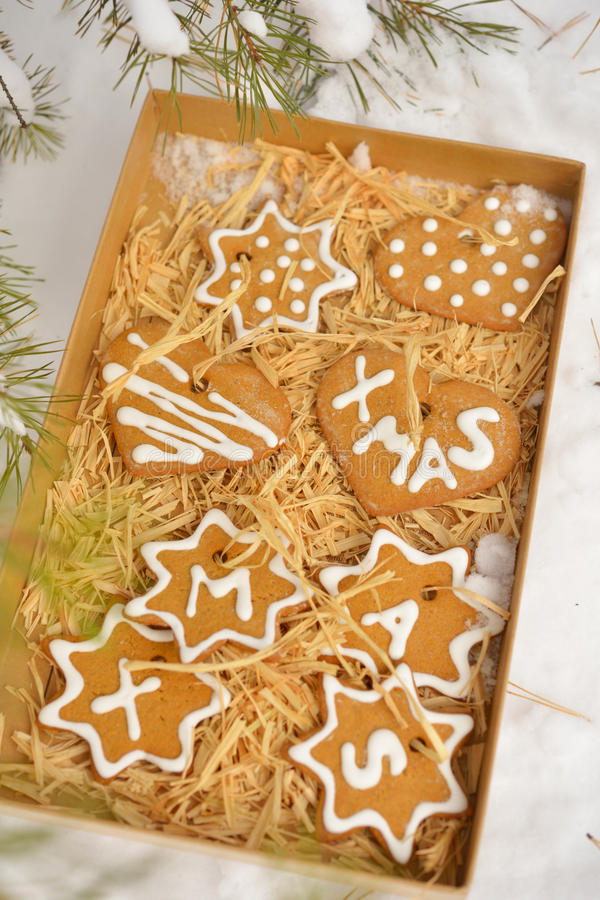 Biscuits de Noël dans une boîte sur une neige image stock