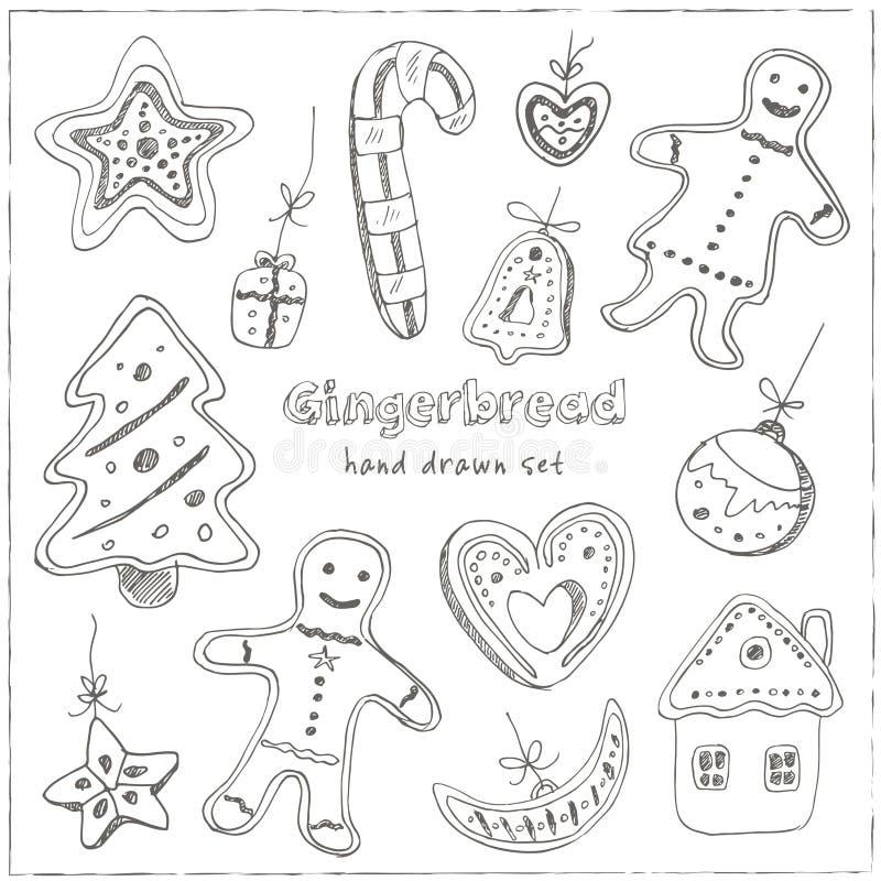 Biscuits de Noël de griffonnage Illustration de vintage pour l'identité, la conception, la décoration, le produit de paquets et l illustration stock