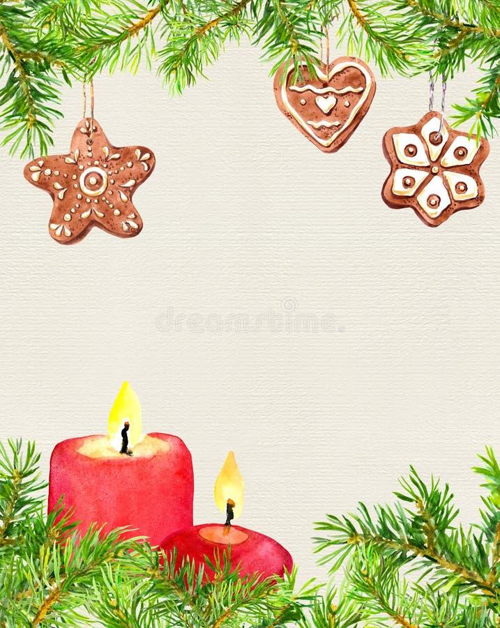 Biscuits de Noël de pain d'épice, branches d'arbre de sapin, bougies Carte de Noël, blanc vide watercolor illustration libre de droits