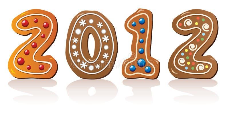 Biscuits de pain d'épice d'an neuf illustration de vecteur