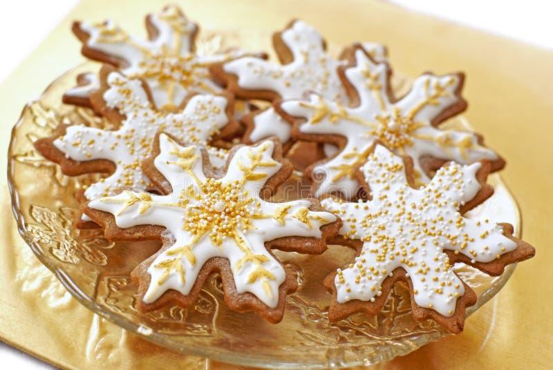 Biscuits de pain d'épice de flocon de neige photographie stock
