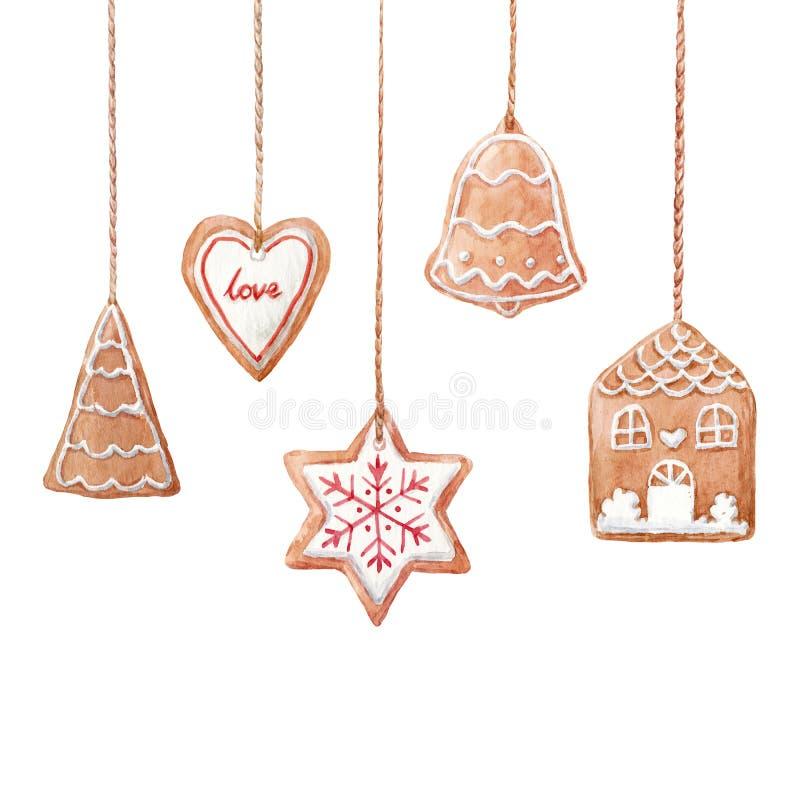 Biscuits de pain d'épice de Noël illustration de vecteur