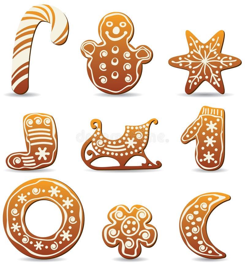 Biscuits de pain d'épice de vacances illustration stock