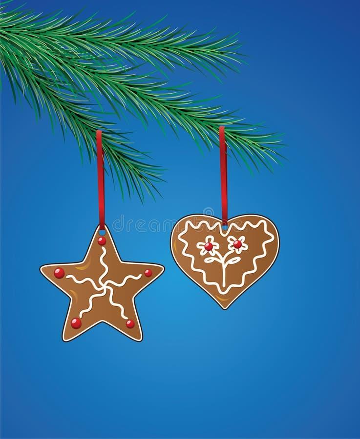 Biscuits de pain d'épice sur l'arbre de Noël illustration stock