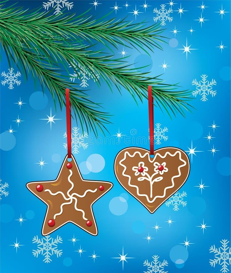 Biscuits de pain d'épice sur l'arbre de Noël illustration de vecteur