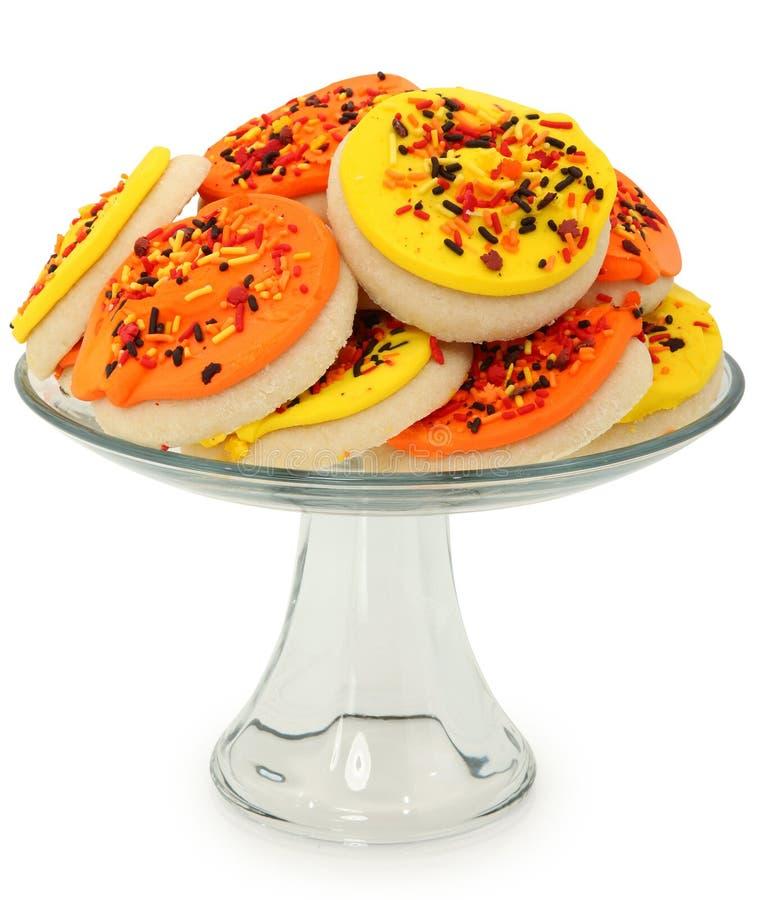 Biscuits de sucre orientés d'automne empilés sur le champ de cablage à couches multiples images libres de droits