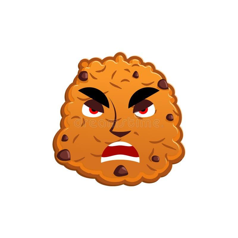 Biscuits Emoji fâché émotion de biscuit agressive Nourriture d'isolement illustration de vecteur