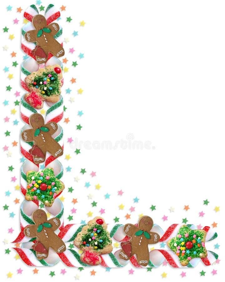 Biscuits et sucrerie de cadre de Noël illustration stock
