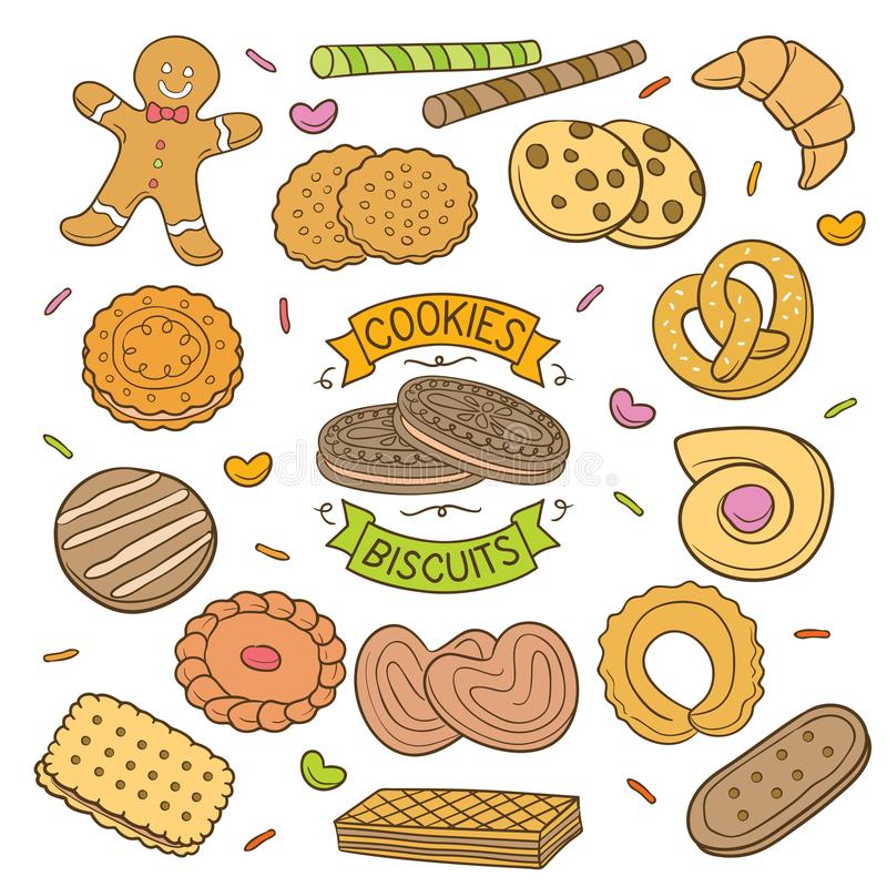 Biscuits et biscuits tirés par la main illustration libre de droits