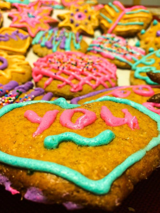 Biscuits fabriqués à la main de Saint-Valentin photo stock