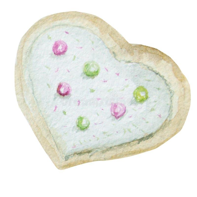 Biscuits faits maison de coeur d'aquarelle Illustration tirée par la main de dessert illustration libre de droits