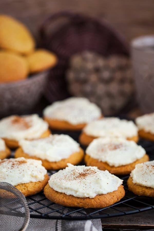 Biscuits faits maison de gâteau d'épice de potiron avec le lustre et la cannelle photographie stock libre de droits