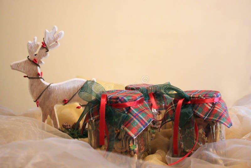 Biscuits faits maison de Noël dans un pot photographie stock
