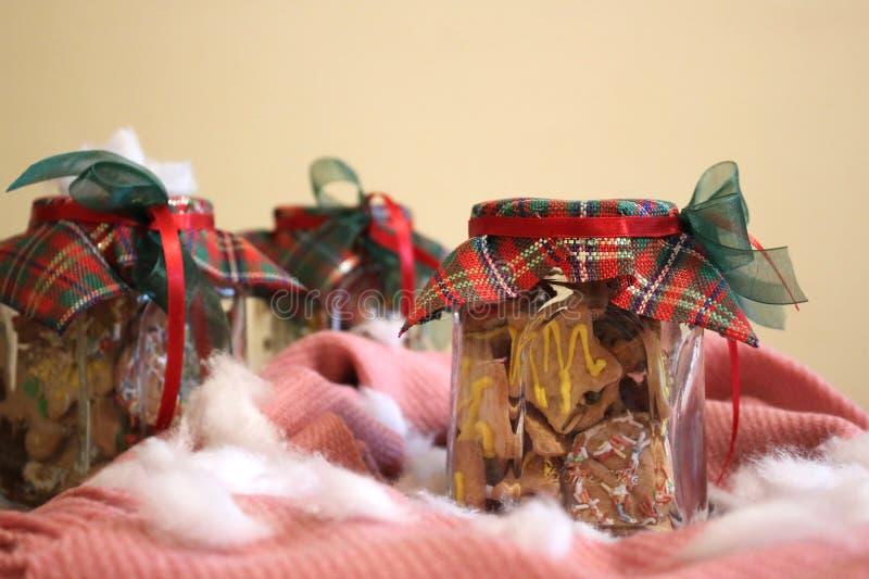 Biscuits faits maison de Noël dans un pot photos stock