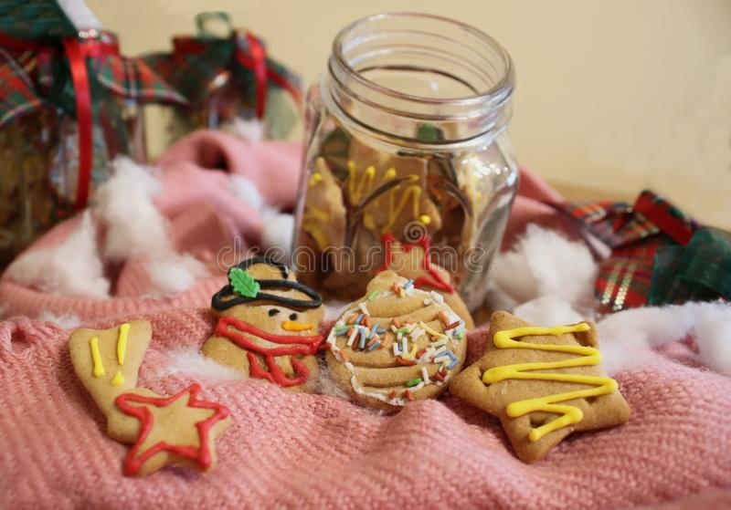 Biscuits faits maison de Noël dans un pot image libre de droits
