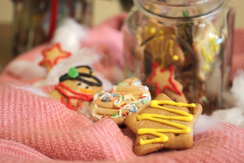 Biscuits faits maison de Noël dans un pot image stock