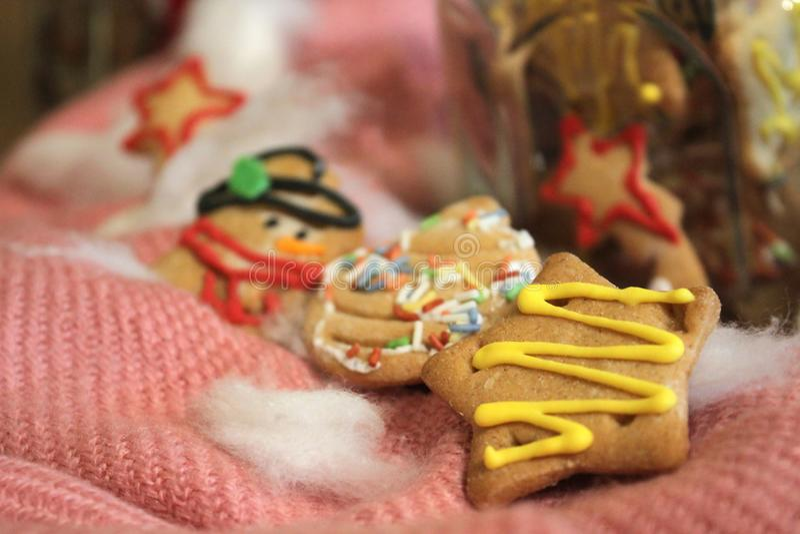 Biscuits faits maison de Noël dans un pot photos libres de droits