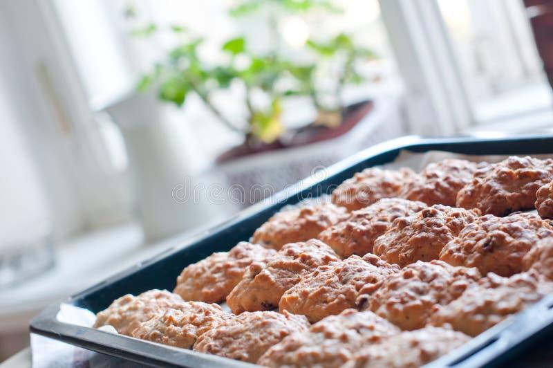Biscuits faits maison sur un plateau de traitement au four image libre de droits