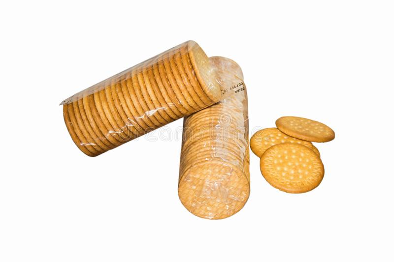 Biscuits on an isolated white background royalty free stock images