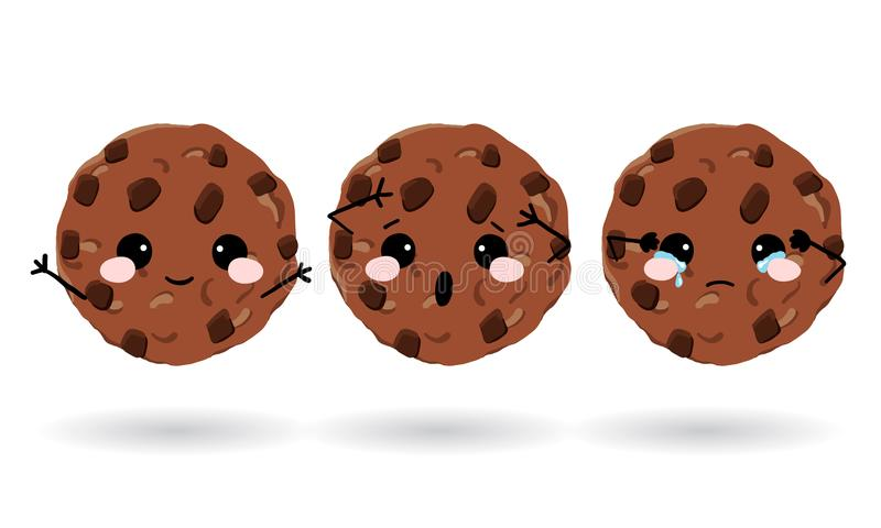 Biscuits mignons d'avoine Ensemble d'icônes d'émotion pour le messager, la causerie ou plus Illustration tirée par la main de vec illustration libre de droits
