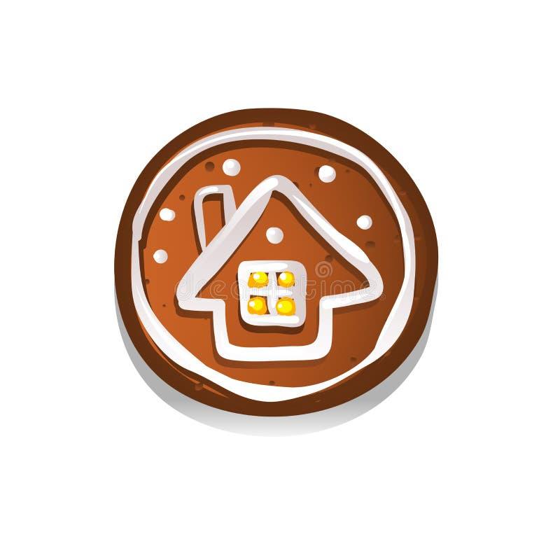 Biscuits mignons de pain d'épice pour Noël avec une maison d'hiver D'isolement sur le fond blanc Illustration de vecteur illustration de vecteur