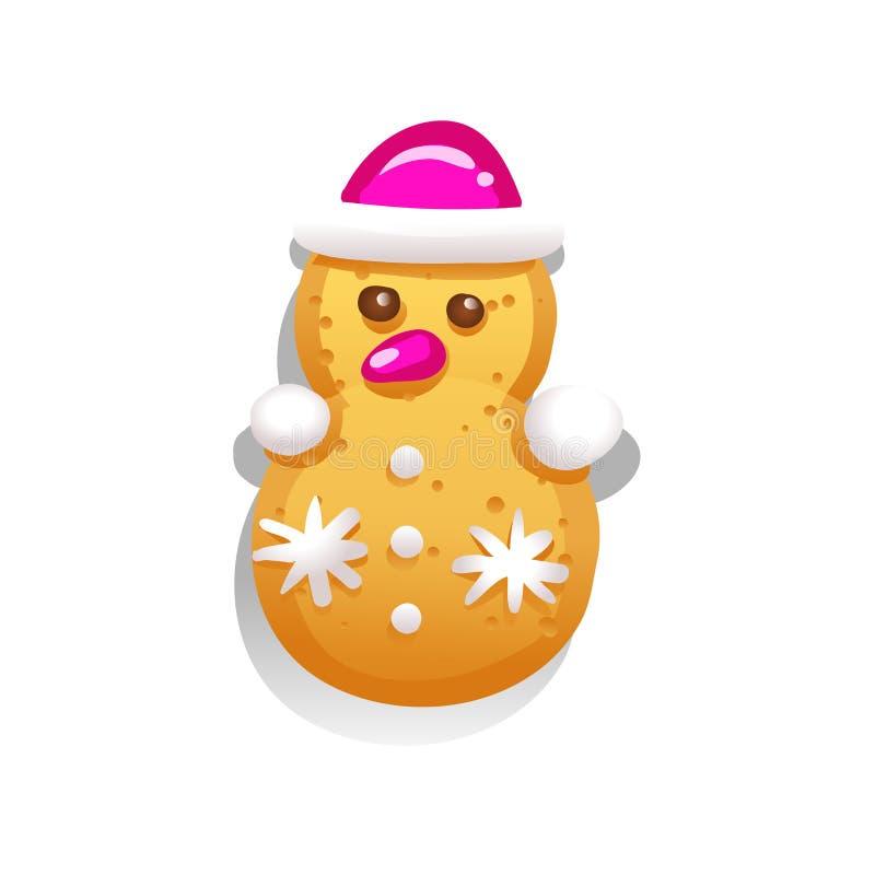Biscuits mignons de pain d'épice pour Noël sous forme de bonhomme de neige D'isolement sur le fond blanc Illustra saisonnier de c illustration de vecteur