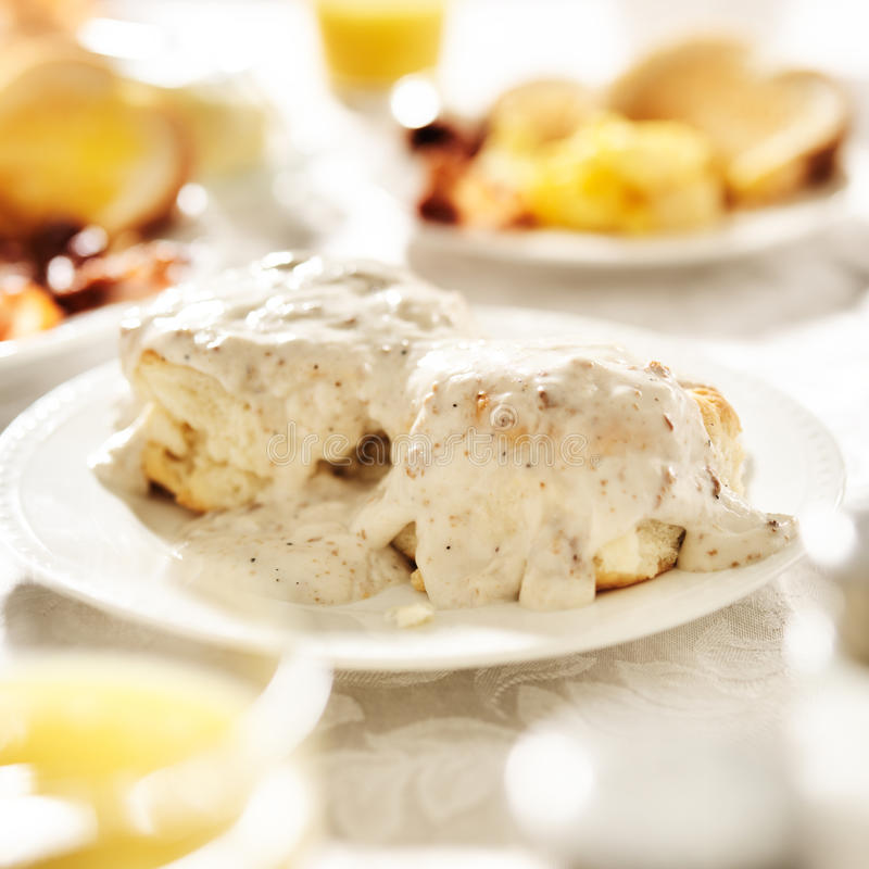 Biscuits with sausage gravy. Shot close up royalty free stock photography