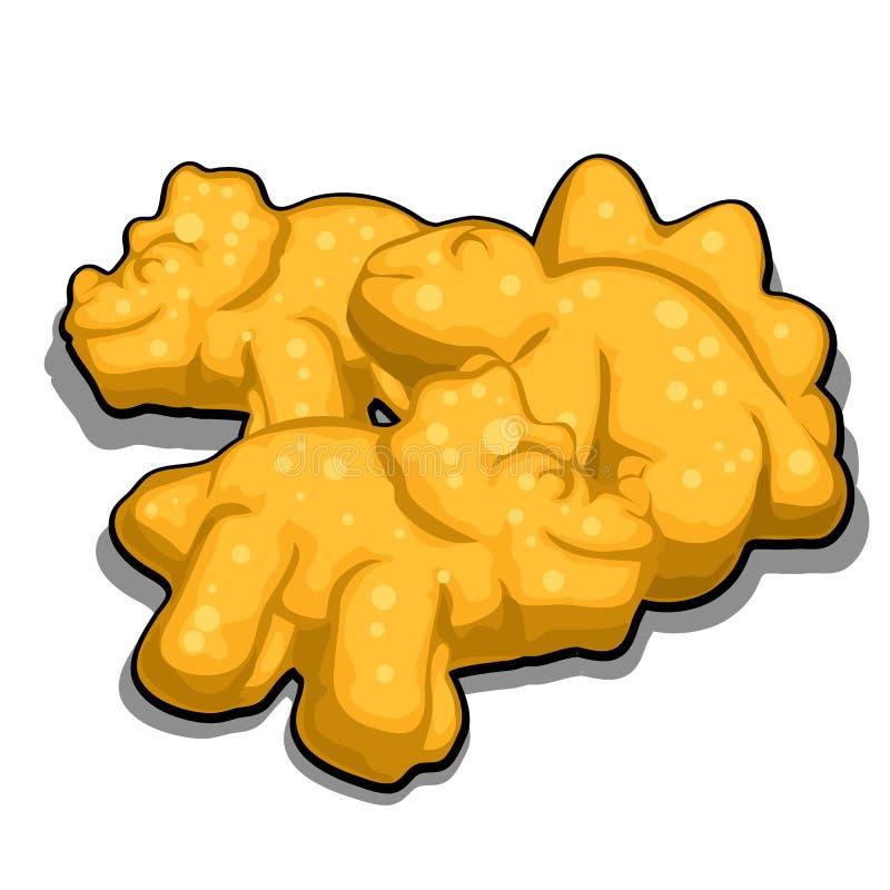 Biscuits sous forme de dinosaures d'isolement sur le fond blanc Illustration de plan rapproché de vecteur de bande dessinée illustration libre de droits