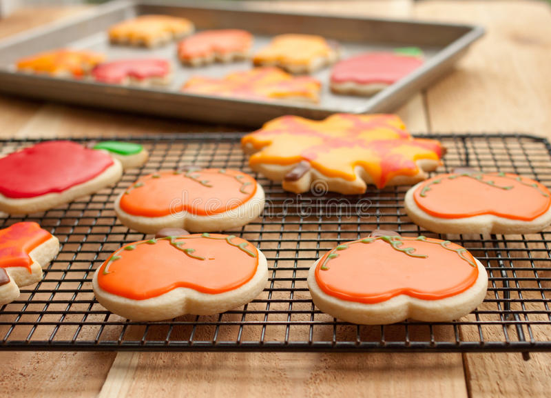 Biscuits sur l'armoire de refroidissement photo stock