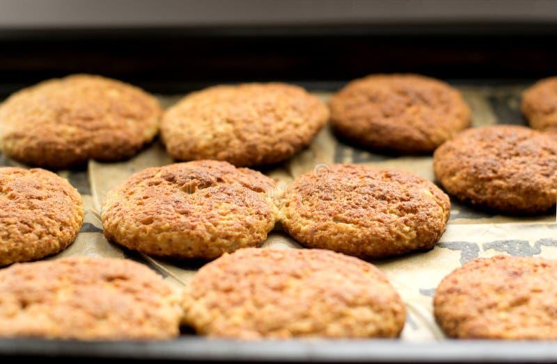 Biscuits sur un plateau de traitement au four photographie stock