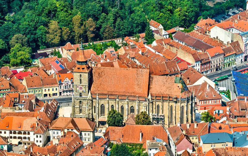 Biserica Neagra or Black Church in the old town of Brasov, Romania royalty free stock photo