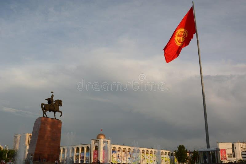 Manas statue in Ala Too square. Bishkek. Kyrgyzstan stock photos
