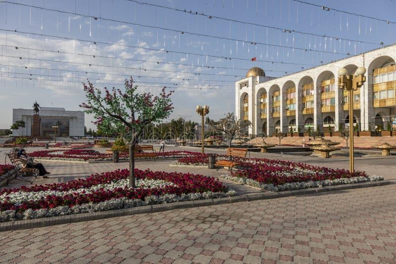 Bishkek, Kyrgyzstan 9 Augustus 2018: Beroemde ala-ook Vierkant in Bishkek-Stad stock foto