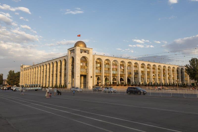 Bishkek, Kyrgyzstan 9 Augustus 2018: Dichtbij ala-ook het inbouwen van oosterse stijl tijdens zonsondergangvierkant stock afbeeldingen