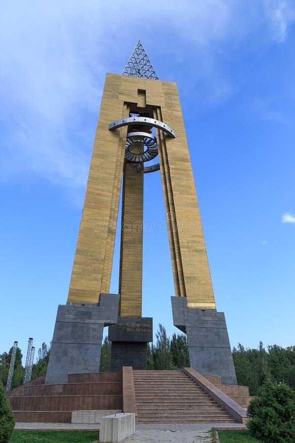 Bishkek, Kyrgyzstan - Augustus 25, 2016: Monument aan de blokkade royalty-vrije stock afbeelding