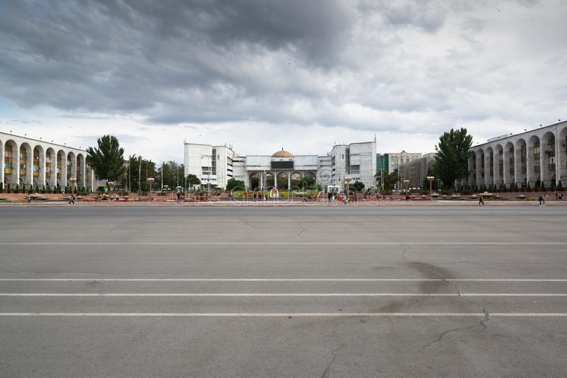 Ala Too Square in Bishkek, Kyrgyzstan. Bishkek, Kyrgyzstan, circa august 2019: Ala Too Square in Bishkek, Kyrgyzstan royalty free stock photography