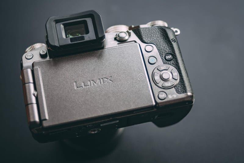 Camera Lumix G7. Bishkek, Kyrgyzstan - FEBRUARY, 17, 2018. Back view of camera with logo lumix. Review a mirrorless camera Panasonic Lumix G7 royalty free stock photo