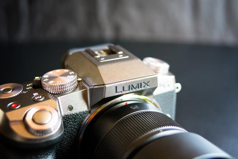 Camera Lumix G7. Bishkek, Kyrgyzstan - February 24, 2018: Review a mirrorless camera Panasonic Lumix G7 stock photos