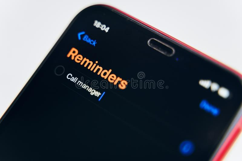 New reminders application in ios 13. stock images