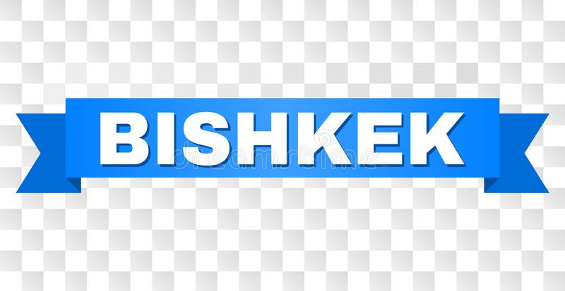 Blue Tape with BISHKEK Text. BISHKEK text on a ribbon. Designed with white caption and blue stripe. Vector banner with BISHKEK tag on a transparent background stock illustration