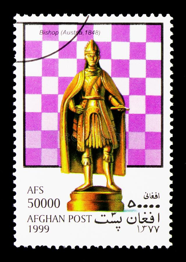 Bishop (Austria), Chess Pieces serie, circa 1999. MOSCOW, RUSSIA - DECEMBER 21, 2017: A stamp printed in Afghanistan shows Bishop (Austria), Chess Pieces serie royalty free stock photos