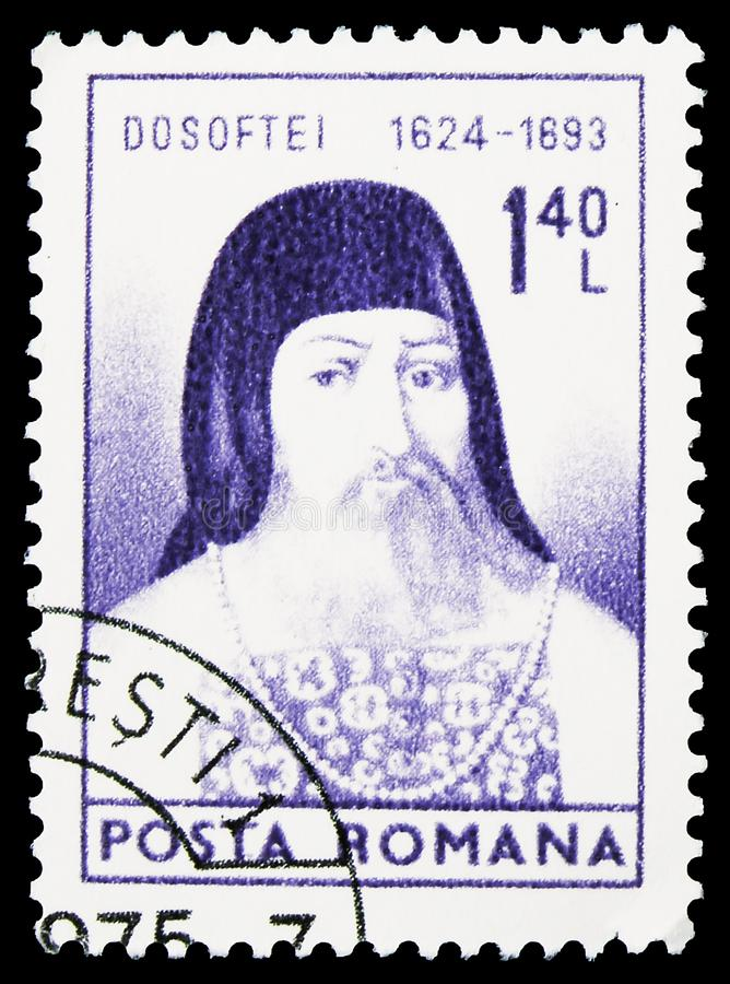 Bishop Dosoftei (1624-1693) Metropolit, Cultural Anniversaries serie, circa 1974. MOSCOW, RUSSIA - SEPTEMBER 22, 2019: Postage stamp printed in Romania shows royalty free stock images