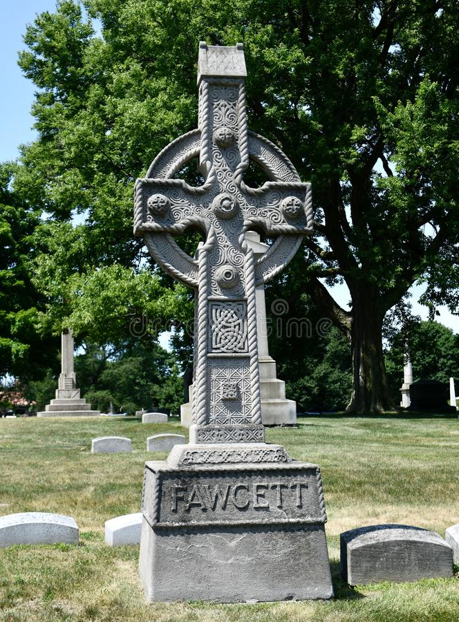 Bishop Edward Fawcett Grave Monument. This is a Summer picture of the Grave Monument of Bishop Edward Fawcett, in Graceland Cemetery located in Chicago, Illinois royalty free stock images