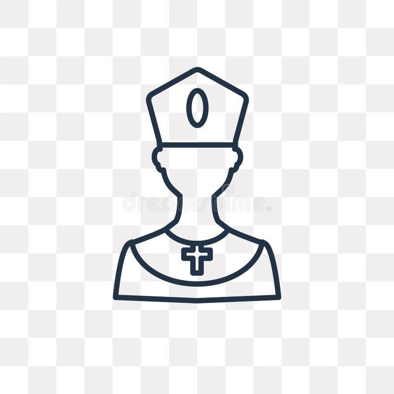 Bishop vector icon on transparent background, linear Bi royalty free illustration