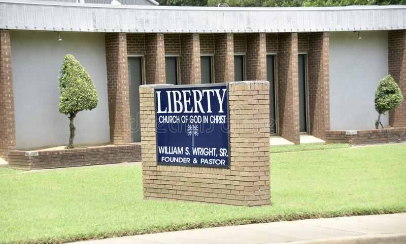 Liberty Church of God in Christ Church Sign, Memphis, Tennessee stock photo