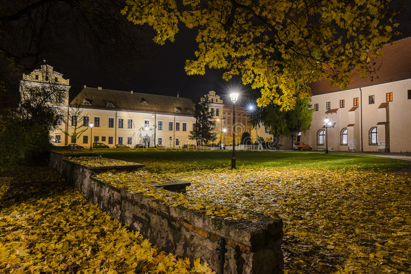 Bishops Palace in Krakow at night royalty free stock photography