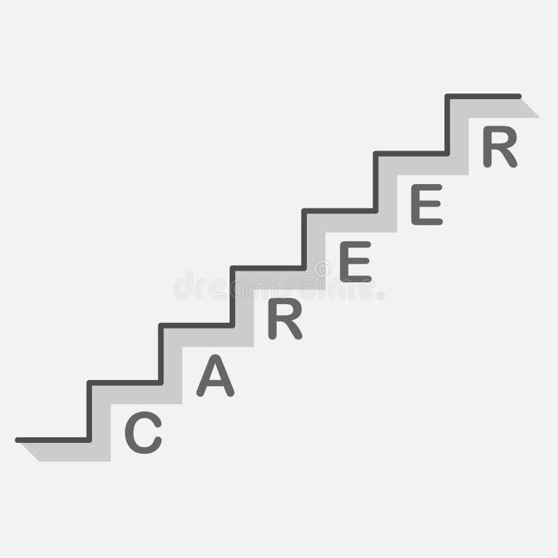 Fun bisiness career ladder icon on gray background with text. Bisiness career ladder icon on gray background with text vector progress success up business stock illustration