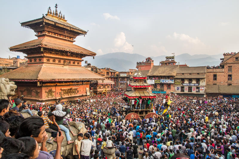 Bisket Jatra在Bhaktapur