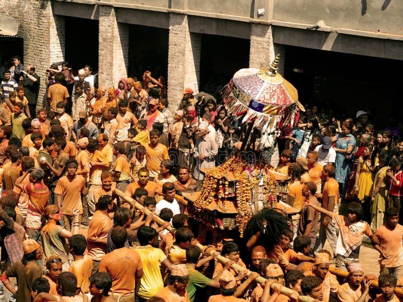 Bisket Jatra Celebration, a Lively tradition. stock image